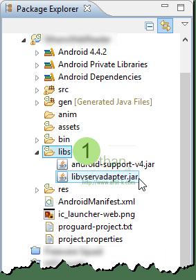 นำ Vserv Android AdMob Adapter เข้าไปไว้ในโฟลเดอร์ libs ของ Project