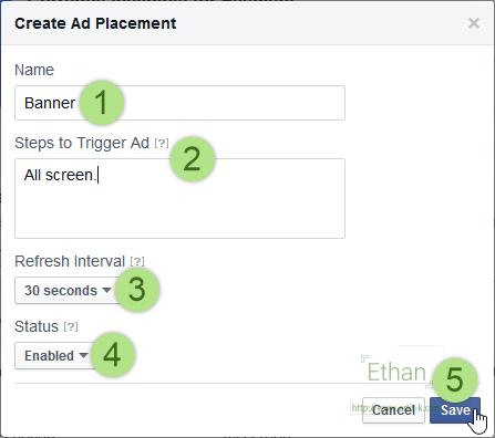 หน้าต่าง Create Ad Placement ระบุรายละเอียดของตำแหน่งที่จะติดโฆษณาใน App