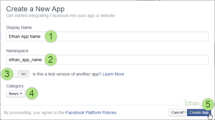 กรอกรายละเอียด App ที่จะสร้าง