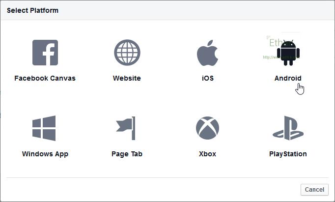 เลือก Platform ให้กับ Facebook App