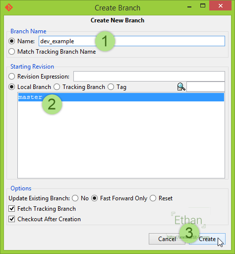 Git GUI Create Branch Dialog