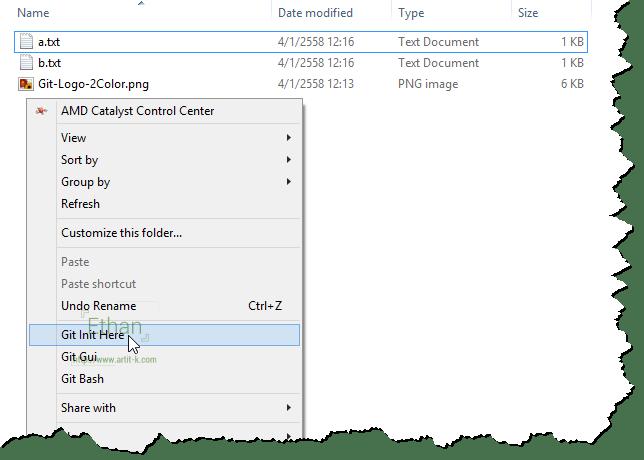 สร้าง Local Repository จาก Context menu