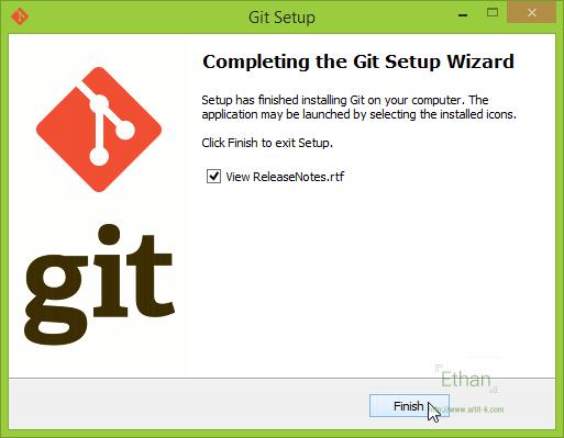หน้าจอสุดท้ายของการติดตั้ง Git for Windows