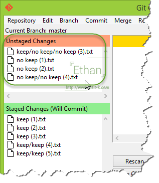 Git GUI แสดงไฟล์ที่ Track และ Untrack