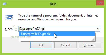 ทางลัดไปสู่ .gradle ใน Home directory บน Windows