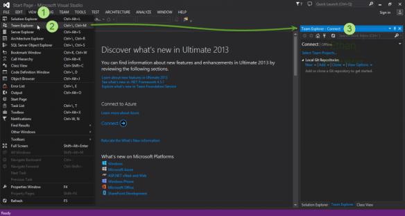 Visual Studio 2013 Team Explorer menu