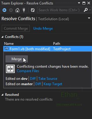 Resolve Conflicts บน Team Explorer window