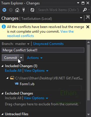 Changes บน Team Explorer window หลังจากสั่ง Commit Merge
