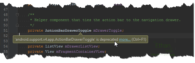 Class ActionBarDrawerToggle จาก Support Library v4