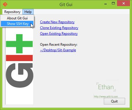 เมนู Show SSH Key บน Git GUI