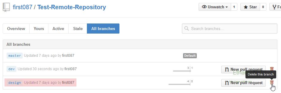 ลบ Branch บน GitHub