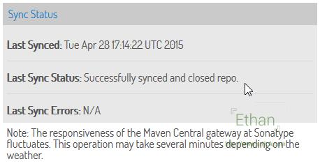 Sync Status ในแถบ Maven Central ของ Bintray