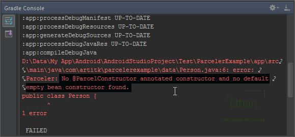 Gradle Console แสดง Error จาก Parceler Library