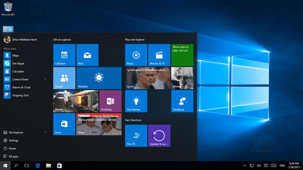 Desktop & Start Menu