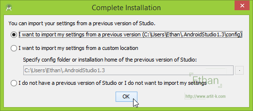 Complete Installation Dialog
