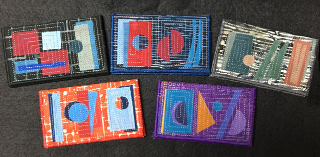 Quilted card cases by Floris Flam Art Quilts