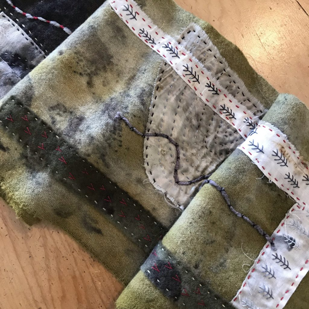 Eco dyed Gone Rustic scarf with embroidery