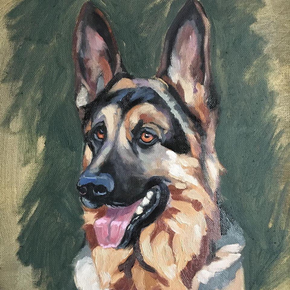 Laura Lee Burch Textile Art Pet Commission in Oil - German Shepherd Dog