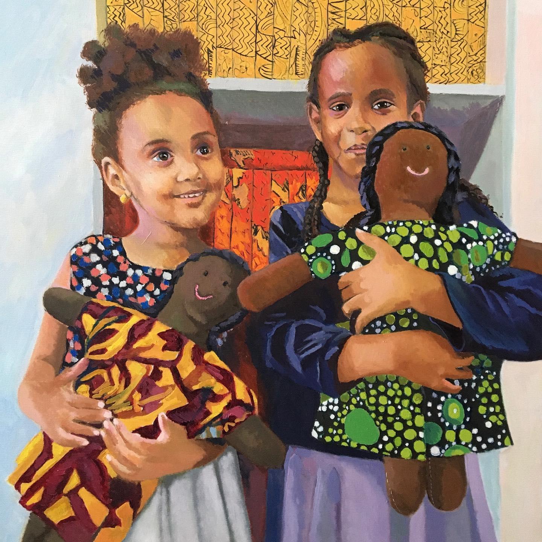 Laura Lee Burch painting of children at Kuchinate