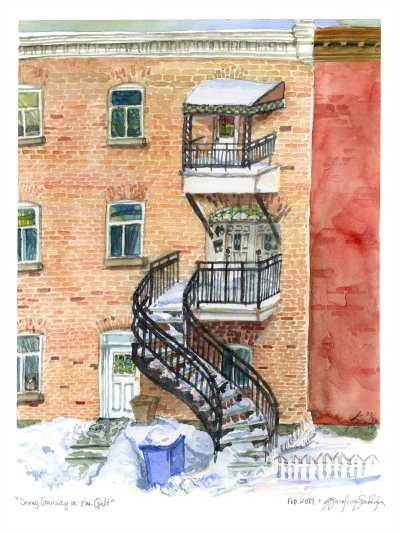verdun townhouse watercolor painting