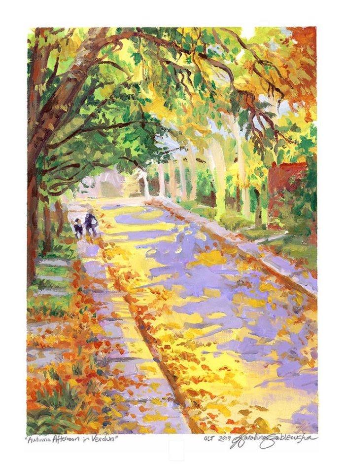 Autumn Afternoon in Verdun en plein air oil painting by Karolina Szablewska