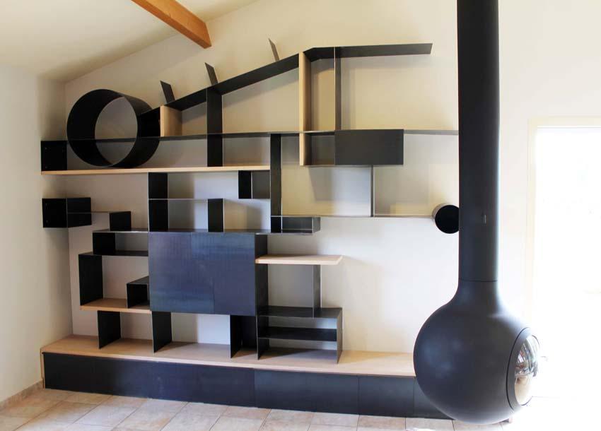 Bibliothque contemporaine en tle et htre  Thierry Love Maitre artisan ferronnier dart