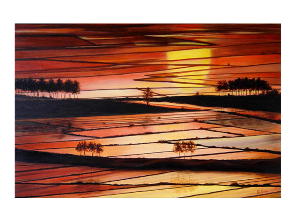 Tramonto sulle risaie  vendita quadro pittura  ArtlyNow