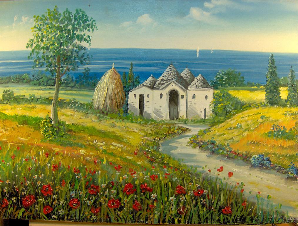Paesaggio Puglia  Il Trullo   vendita quadro pittura  ArtlyNow