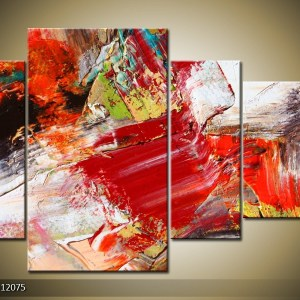 Abstract canvasschilderij 000088 – rood en wit