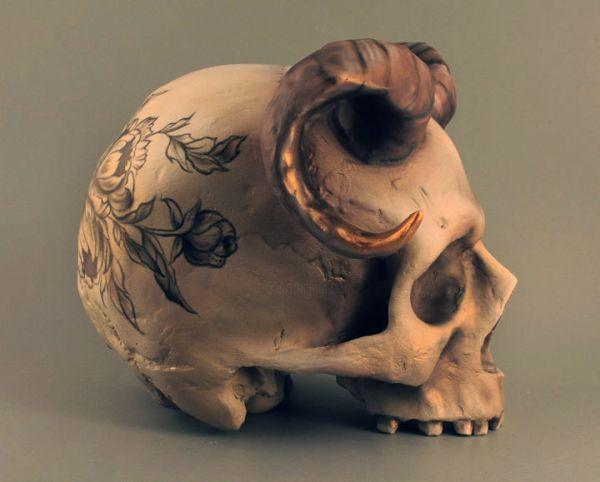Horned Skull With Flowers Daria Leonova