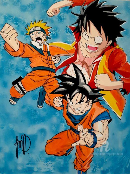 Naruto should have been goku and luffy but nnoooo we get.toriyko. L Alliance De Naruto Luffy Et Goku Pintura Por Jean Marie Vandaele Artmajeur