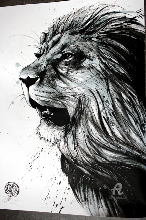 Black And White Lion Drawing By Art De Noe Artmajeur