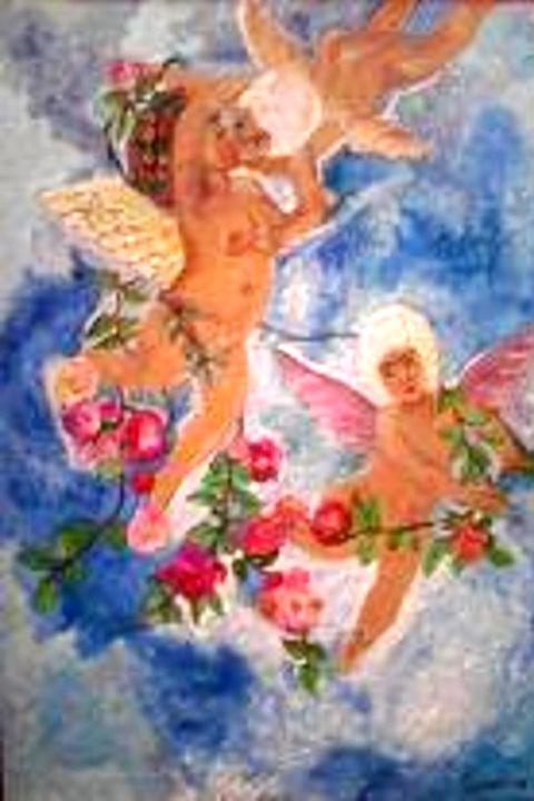 les anges aux fleurs peinture par rose