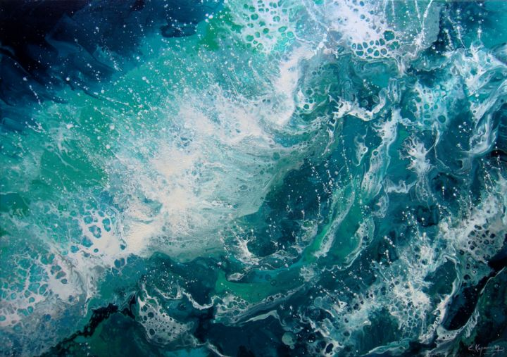 seascape turquoise waves large