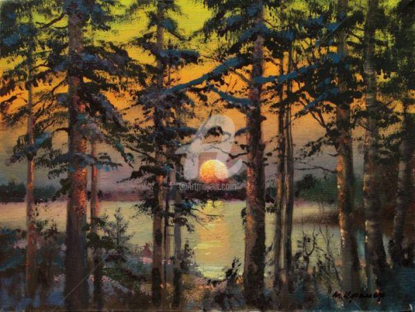 Sunset Lake Painting Mark Kremer Artmajeur