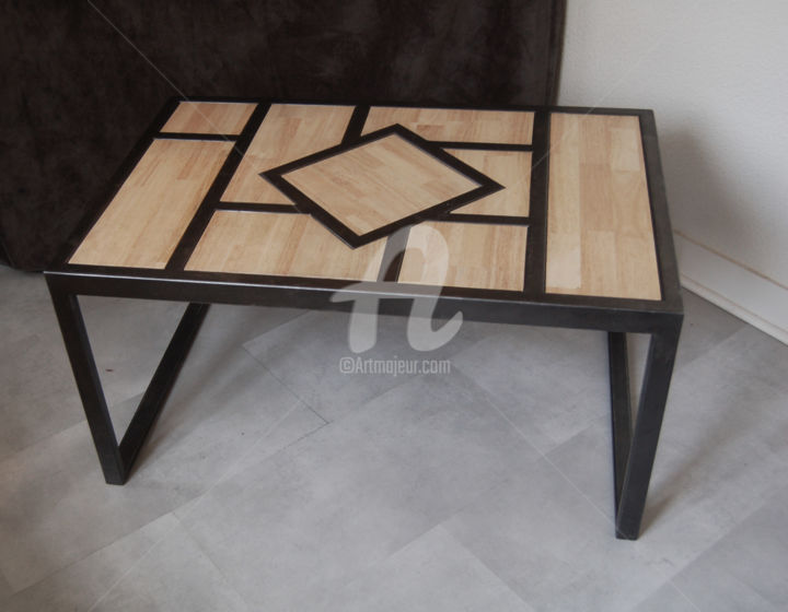 table basse acier bois design by malika