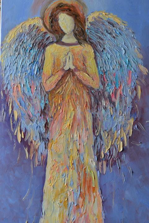 Angel Painting Oil Artwork Guardian Love Art 02