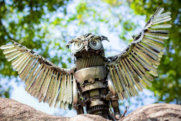 Owl Metal Art Sculpture Flying Mari9art