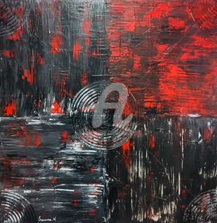 abstract black white red