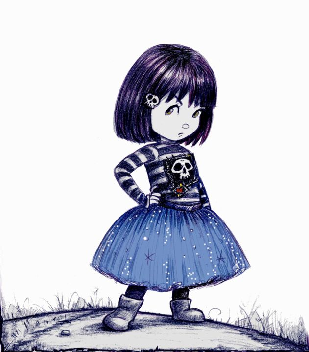 Lucy Gothic Girl With Tutu -illustration Art Pilar