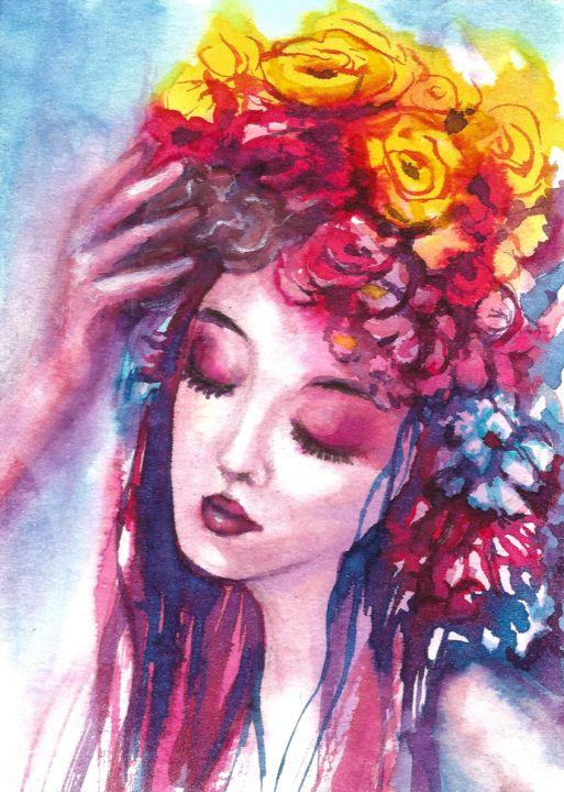Women Face Flowers Painting Natalja Picugina Artmajeur
