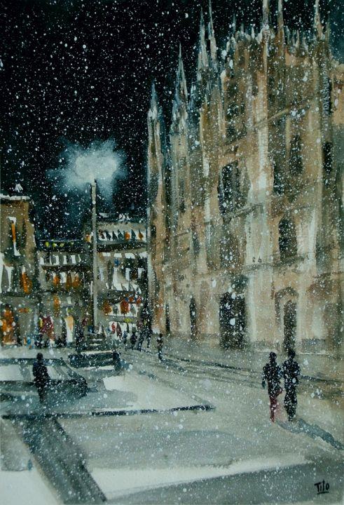 Milano in piazza Duomo sotto la neve Paesaggi invernali  Winter landscapes