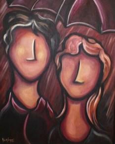 L'averse, acrylique sur toile 16 x 20, 2013