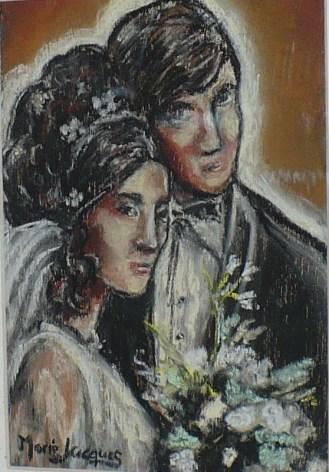 """""""Les mariés"""", pastel sec sur préfini"""
