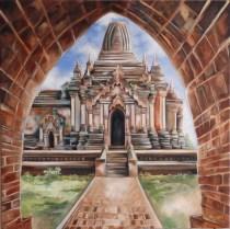 Bagan, huile et acrylique 30 x 30