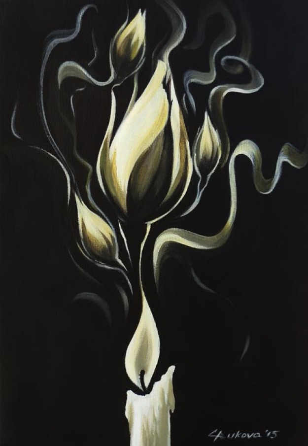 ORIGINAL ART Fantasy Abstract WHITE ROSES Candl