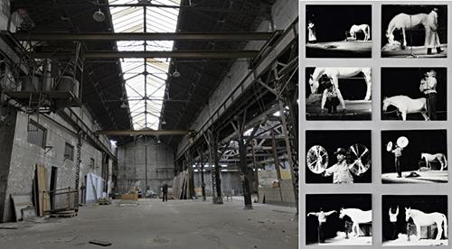 Galerie Thaddaeus Ropac Paris under construction, left, and Joseph Beuys, Iphigenia, 1969