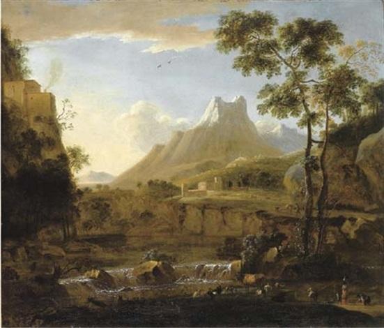 Paesaggio fluviale con pastori e armenti e Alpi Apuane sullo sfondo by Bartholomeus Appelman on