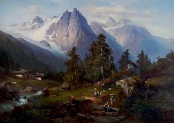 alpine landscape with figures