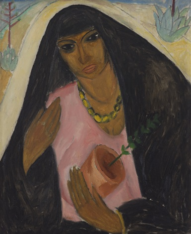 ARAB WOMAN WITH A POTTED PLANT by Reuven Rubin on artnet